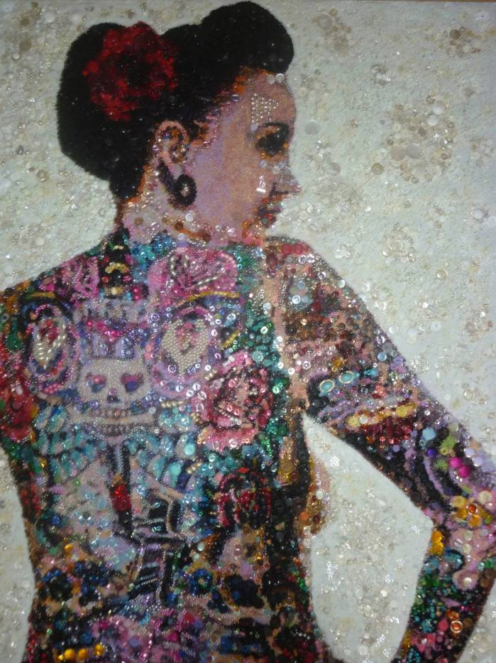 You Said You Were Terrified of Sinking, But We Hadn't Even Left The Shore. 2010. Beads, buttons, sequins and found jewellery on MDF. 160x122cm.